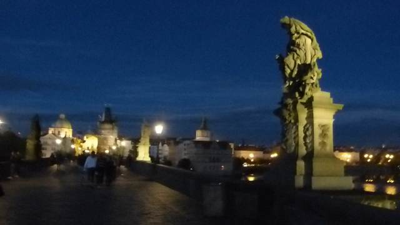 A Twilight Walk Across Charles Bridge